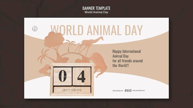 Modèle de bannière horizontale de la journée mondiale des animaux