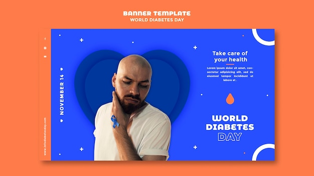Modèle de bannière horizontale de la journée mondiale du diabète
