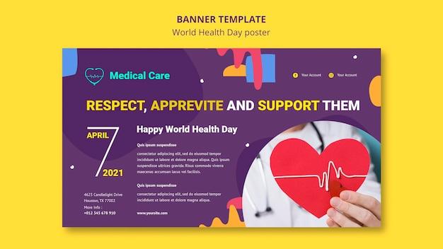Modèle de bannière horizontale de la journée mondiale de la santé avec photo