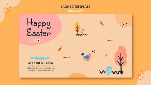 Modèle de bannière horizontale joyeux jour de pâques
