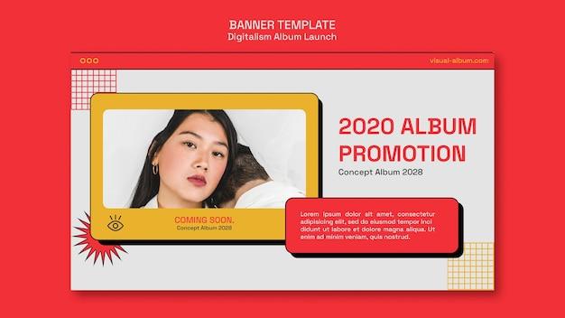 Modèle de bannière horizontale de lancement d'album