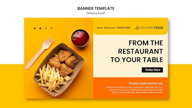 Modèle de bannière horizontale de livraison de nourriture