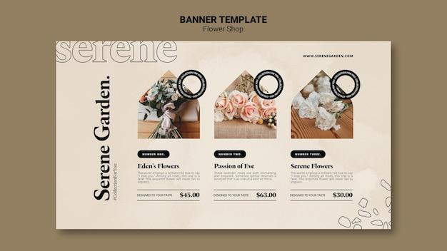 Modèle de bannière horizontale de magasin de fleurs