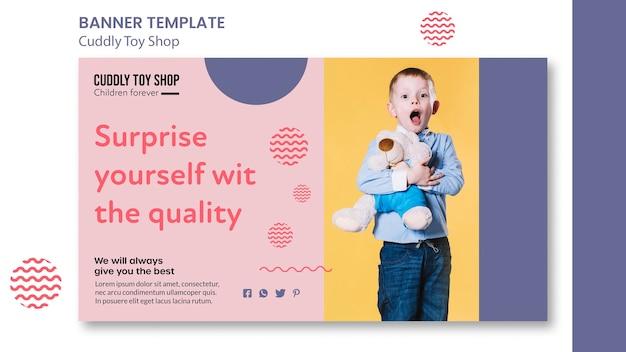 Modèle de bannière horizontale de magasin de jouets câlins