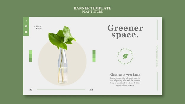 Modèle de bannière horizontale de magasin de plantes