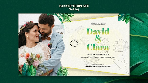 Modèle de bannière horizontale de mariage