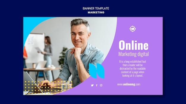 Modèle de bannière horizontale marketing