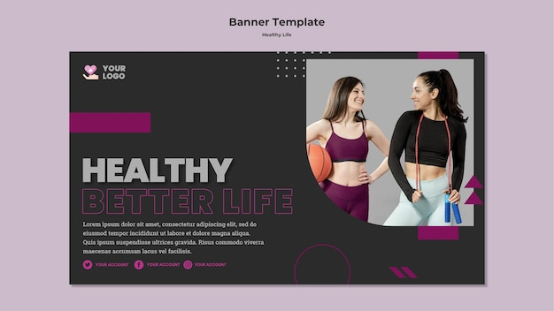Modèle de bannière horizontale de mode de vie sain