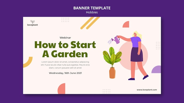 Modèle de bannière horizontale de passe-temps de jardinage