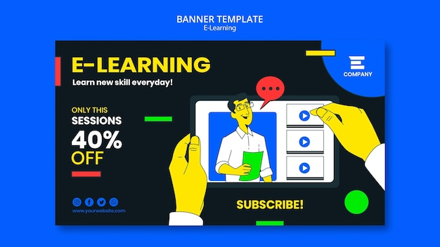 Modèle De Bannière Horizontale De Plate-forme D'apprentissage En Ligne Psd gratuit
