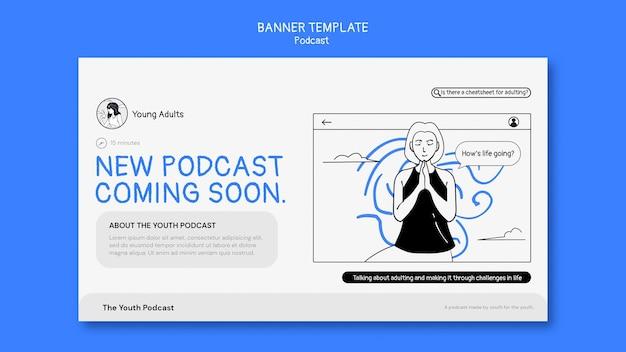 Modèle de bannière horizontale de podcast
