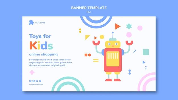 Modèle de bannière horizontale pour les achats en ligne de jouets pour enfants