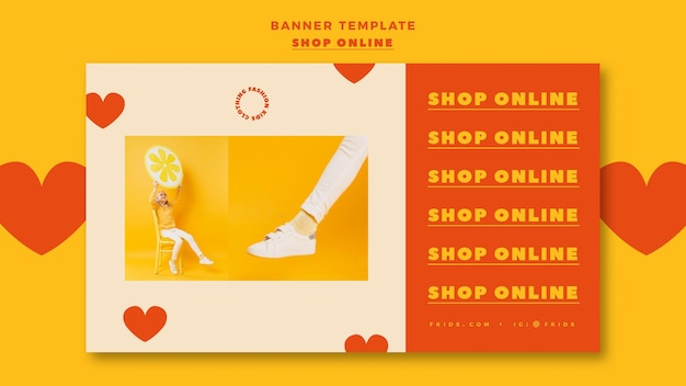 Modèle de bannière horizontale pour les achats en ligne