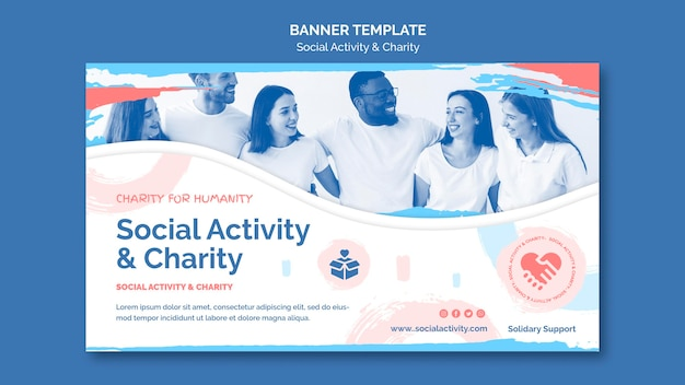 Modèle de bannière horizontale pour l'activité sociale et la charité