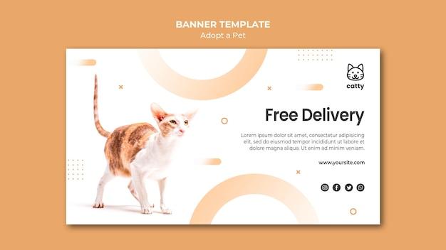 Modèle de bannière horizontale pour adopter un animal de compagnie avec un chat
