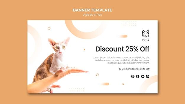 Modèle de bannière horizontale pour l'adoption d'un animal de compagnie
