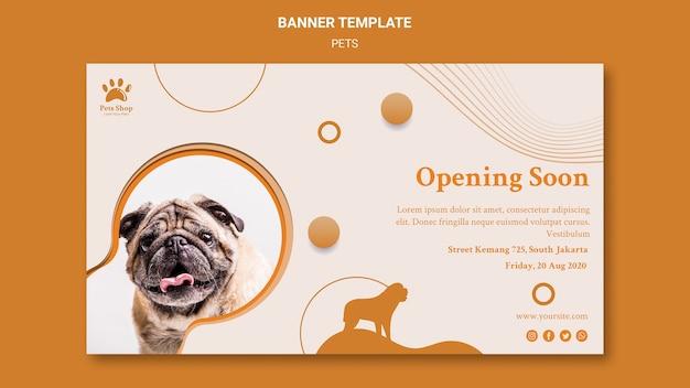 Modèle de bannière horizontale pour animalerie avec chien
