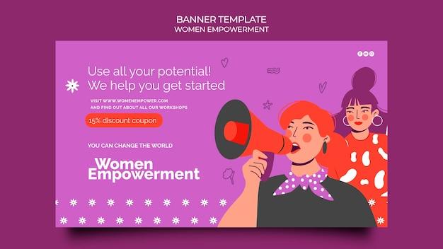Modèle de bannière horizontale pour l'autonomisation des femmes