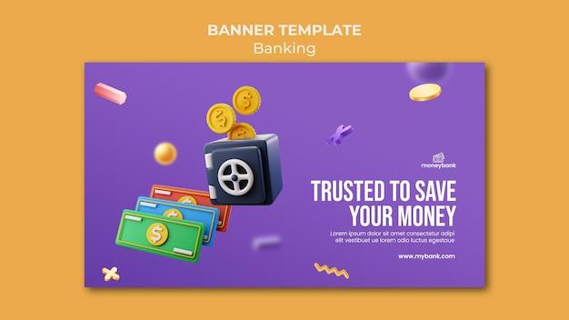 Modèle de bannière horizontale pour la banque et la finance en ligne