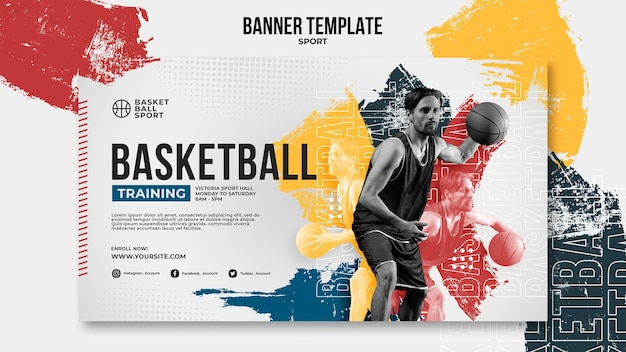 Modèle de bannière horizontale pour le basket-ball avec un joueur masculin