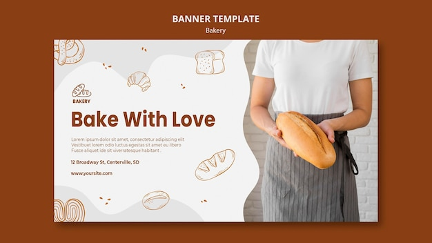 Modèle de bannière horizontale pour boulangerie de pain