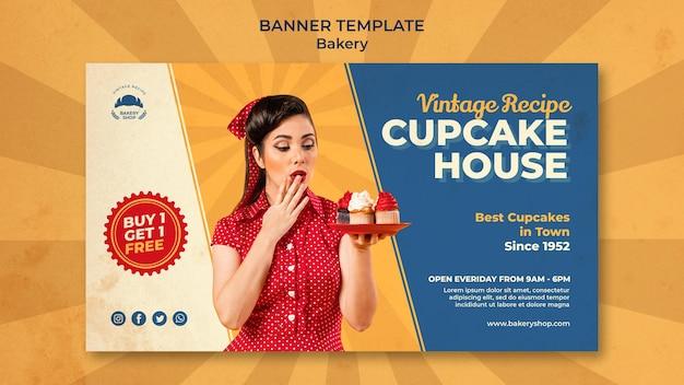 Modèle de bannière horizontale pour boulangerie vintage avec femme