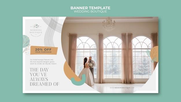 Modèle de bannière horizontale pour une boutique de mariage élégante
