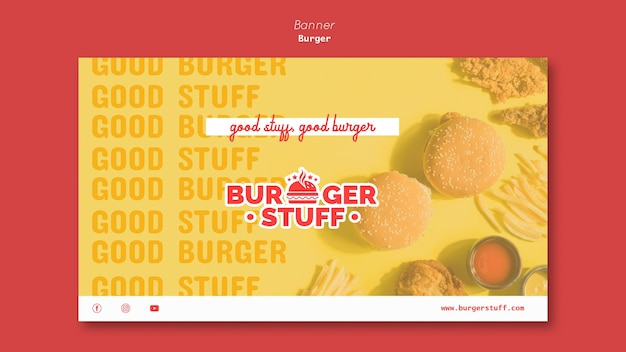 Modèle de bannière horizontale pour burger diner