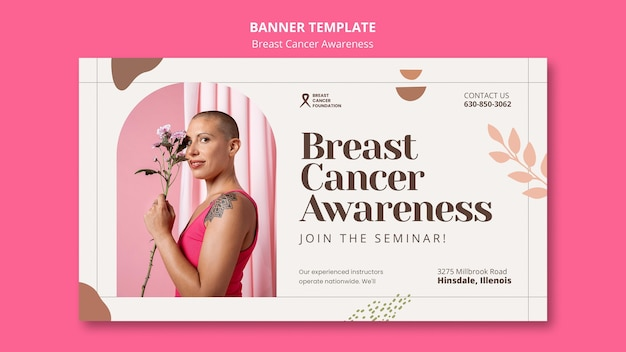 Modèle de bannière horizontale pour le cancer du sein