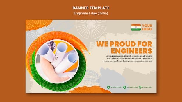 Modèle de bannière horizontale pour la célébration de la journée des ingénieurs