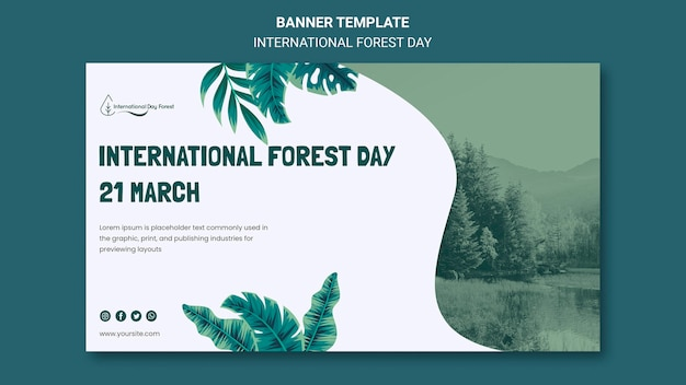 Modèle de bannière horizontale pour la célébration de la journée internationale de la forêt