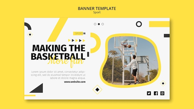Modèle de bannière horizontale pour club de basket