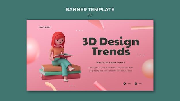 Modèle de bannière horizontale pour la conception 3d avec femme