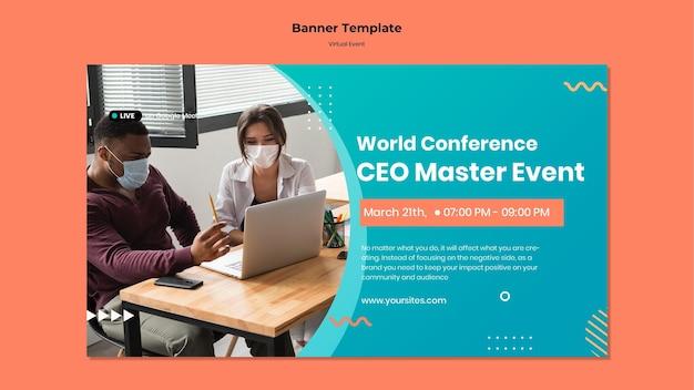 Modèle de bannière horizontale pour la conférence d'événement principale du chef de la direction