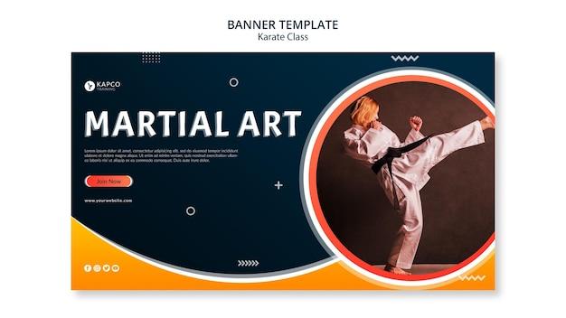 Modèle de bannière horizontale pour le cours de karaté féminin