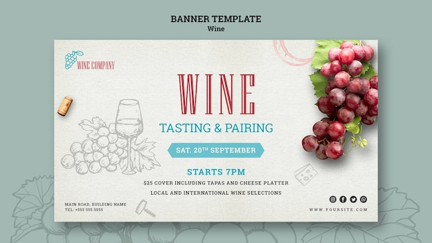 Modèle de bannière horizontale pour la dégustation de vin