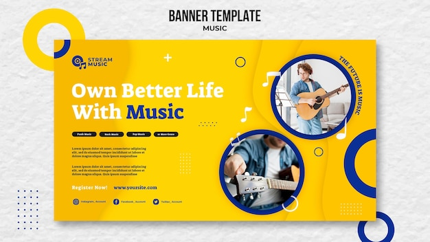 Modèle de bannière horizontale pour la diffusion de musique en direct