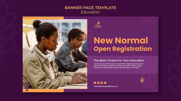 Modèle de bannière horizontale pour l'enseignement universitaire