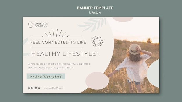 Modèle de bannière horizontale pour une entreprise de mode de vie sain