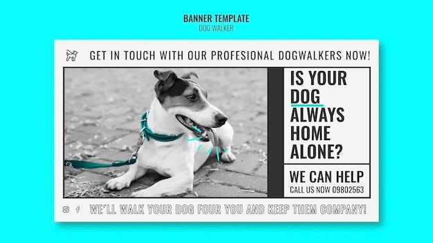 Modèle de bannière horizontale pour entreprise de promenade de chien professionnelle