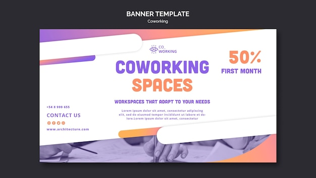 Modèle de bannière horizontale pour espace de coworking