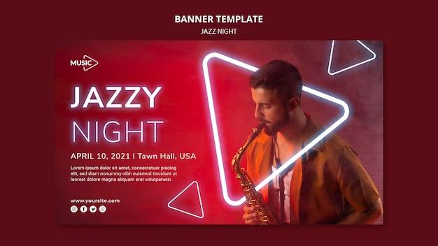Modèle de bannière horizontale pour l'événement de nuit de jazz au néon