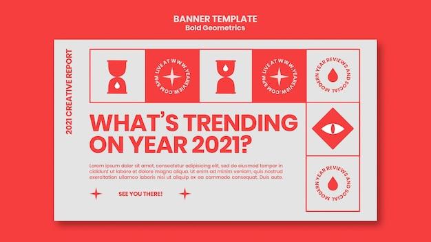 Modèle de bannière horizontale pour l'examen et les tendances du nouvel an