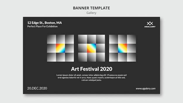 Modèle de bannière horizontale pour l'exposition d'art moderne