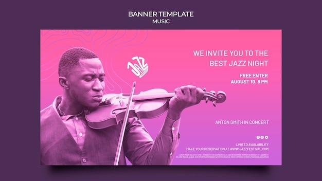 Modèle de bannière horizontale pour festival et club de jazz