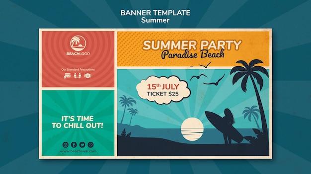 Modèle de bannière horizontale pour une fête sur la plage tropicale