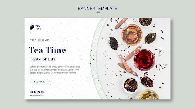 Modèle de bannière horizontale pour l'heure du thé