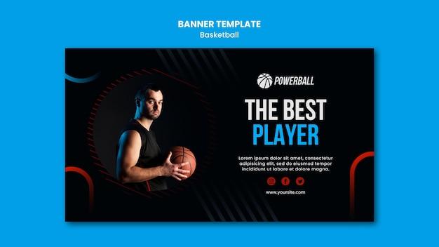 Modèle de bannière horizontale pour le jeu de basket-ball