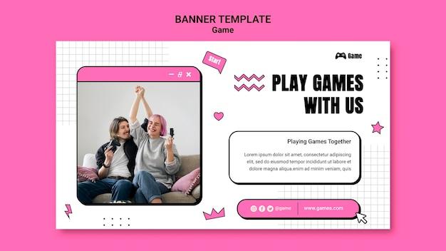 Modèle de bannière horizontale pour jouer à des jeux vidéo