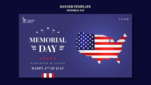 Modèle de bannière horizontale pour le jour commémoratif des états-unis